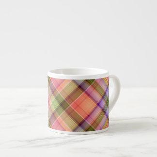 Spring Plaid Espresso Mug 6 Oz Ceramic Espresso Cup