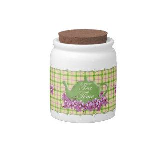 Spring Plaid Tea Time Candy Jar