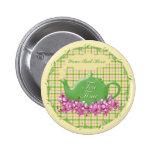 Spring Plaid Tea Time Pinback Button
