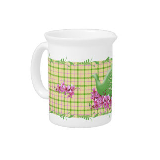 Spring Plaid Teapot and Flowers Drink Pitcher