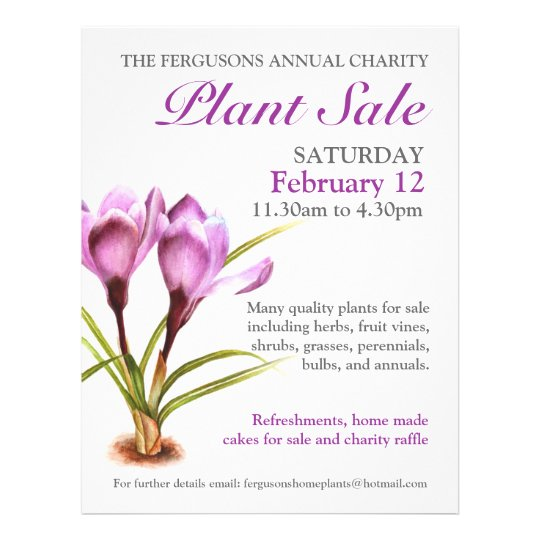Spring plant sale crocus art promo flyer