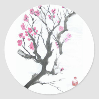 Spring Plum Blossom Branch Art Classic Round Sticker