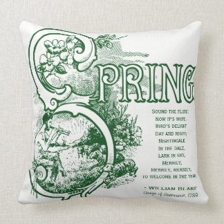 Spring Poem William Blake Lithograph Satyr Lamb Throw Pillow