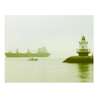 Spring Point Ledge Lighthouse Freighter Portland Postcard