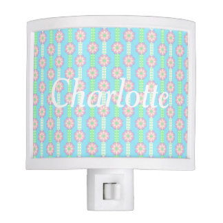 Spring Polka Dot Flower Ribbons Personalized Night Light
