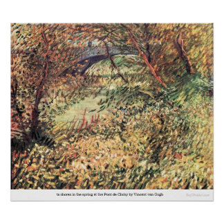 Spring Pont de Clichy shores by Vincent van Gogh Posters