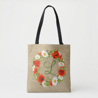 Spring Poppies Daisies Monogram Wreath Tote Bag