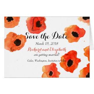 Spring poppy flowers wedding Save the Date Card