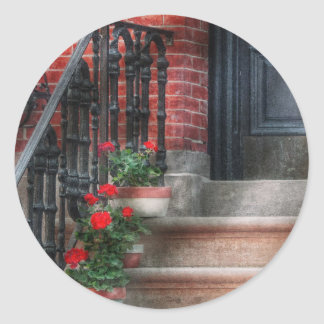 Spring - Porch - Hoboken, NJ - Geraniums on stairs Classic Round Sticker