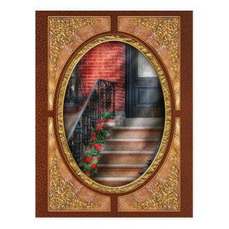 Spring - Porch - Hoboken, NJ - Geraniums on stairs Postcard