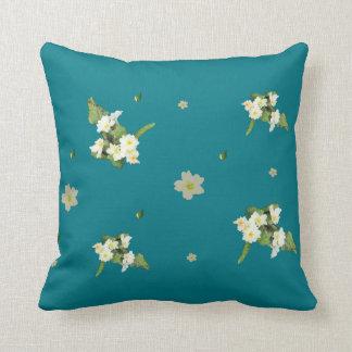 Spring primrose on teal throw pillow
