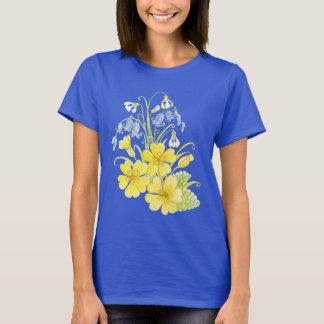 Spring primrose snowdrop bluebell art t-shirt