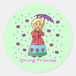 Spring Princess Round Sticker