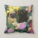 Spring Pugs Fine Art Gifts Pillow