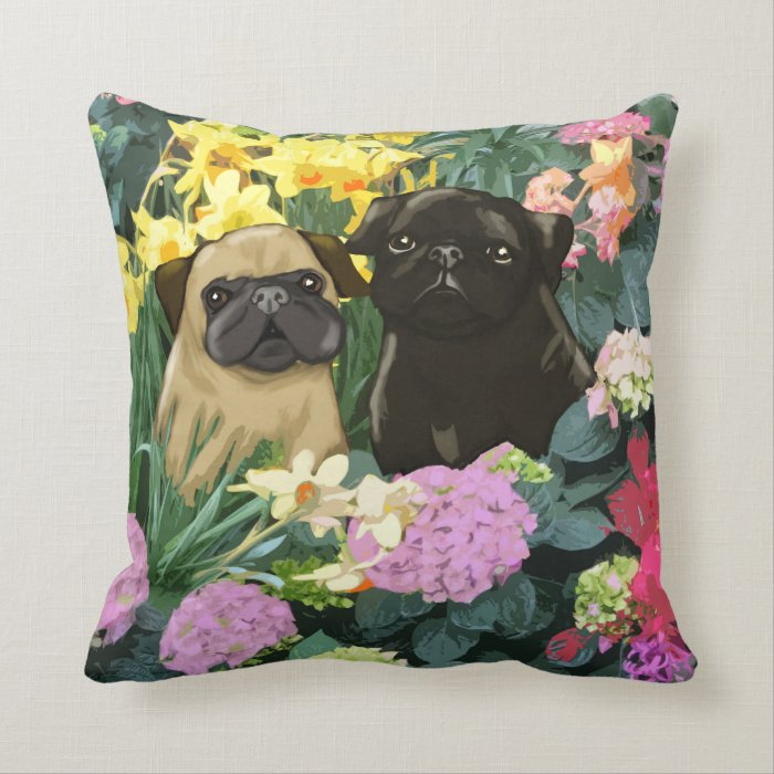 Photo Throw Pillow Gifts : Spring Pugs Fine Art Gifts Throw Pillow Zazzle