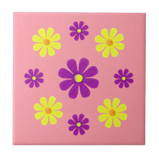 Spring purple and yellow flowers for kitchen ceramic tile