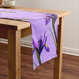 Spring Purple Irises in Bloom Table Runner