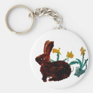 Spring Rabbit Daffodil Art Basic Round Button Keychain