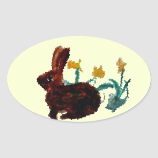 Spring Rabbit Daffodil Art Oval Sticker