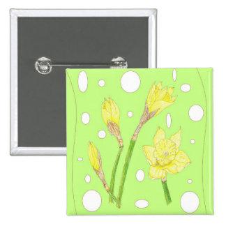 Spring Rain - Blooming Daffodils Button