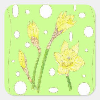 Spring Rain - Blooming Daffodils Square Sticker