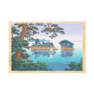 Spring Rain, Matsushima Japanese waterscape art Stretched Canvas Print