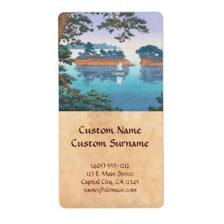 Spring Rain, Matsushima Japanese waterscape art Label