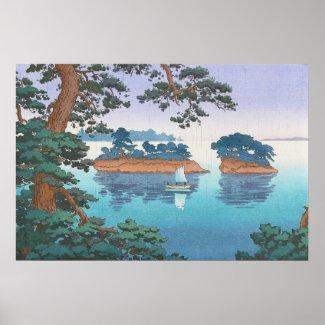 Spring Rain, Matsushima Japanese waterscape art Poster