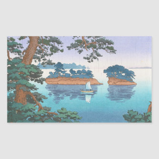 Spring Rain, Matsushima Japanese waterscape art Rectangular Sticker