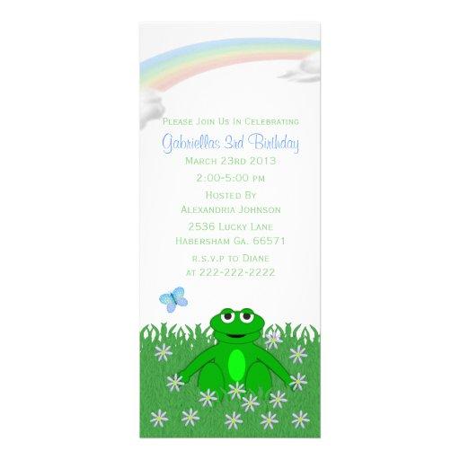 Spring Rainbow: Frog Birthday Party Invitations