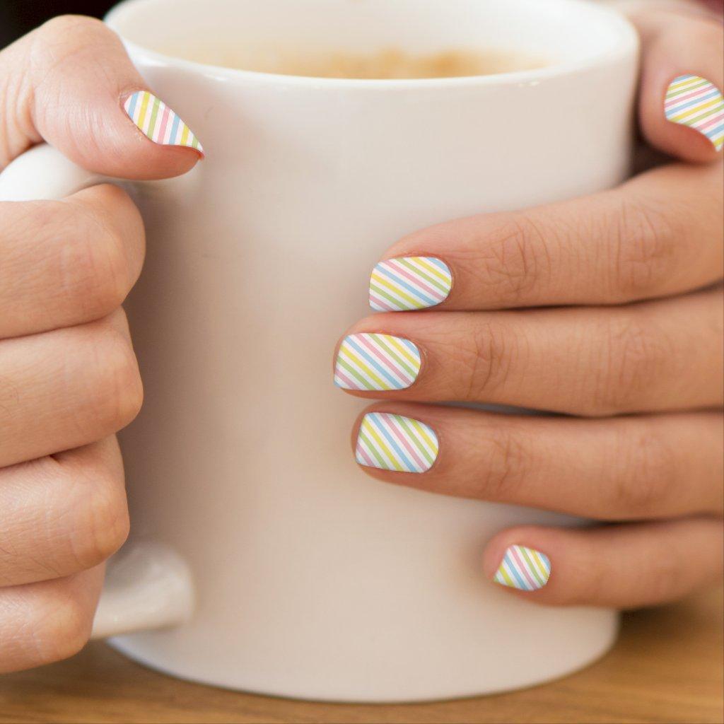 Spring Rainbow Pastel Stripes Minx Nail Wraps