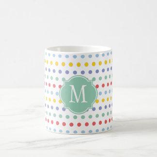 Spring Rainbow Polka Dot Monogram Mug