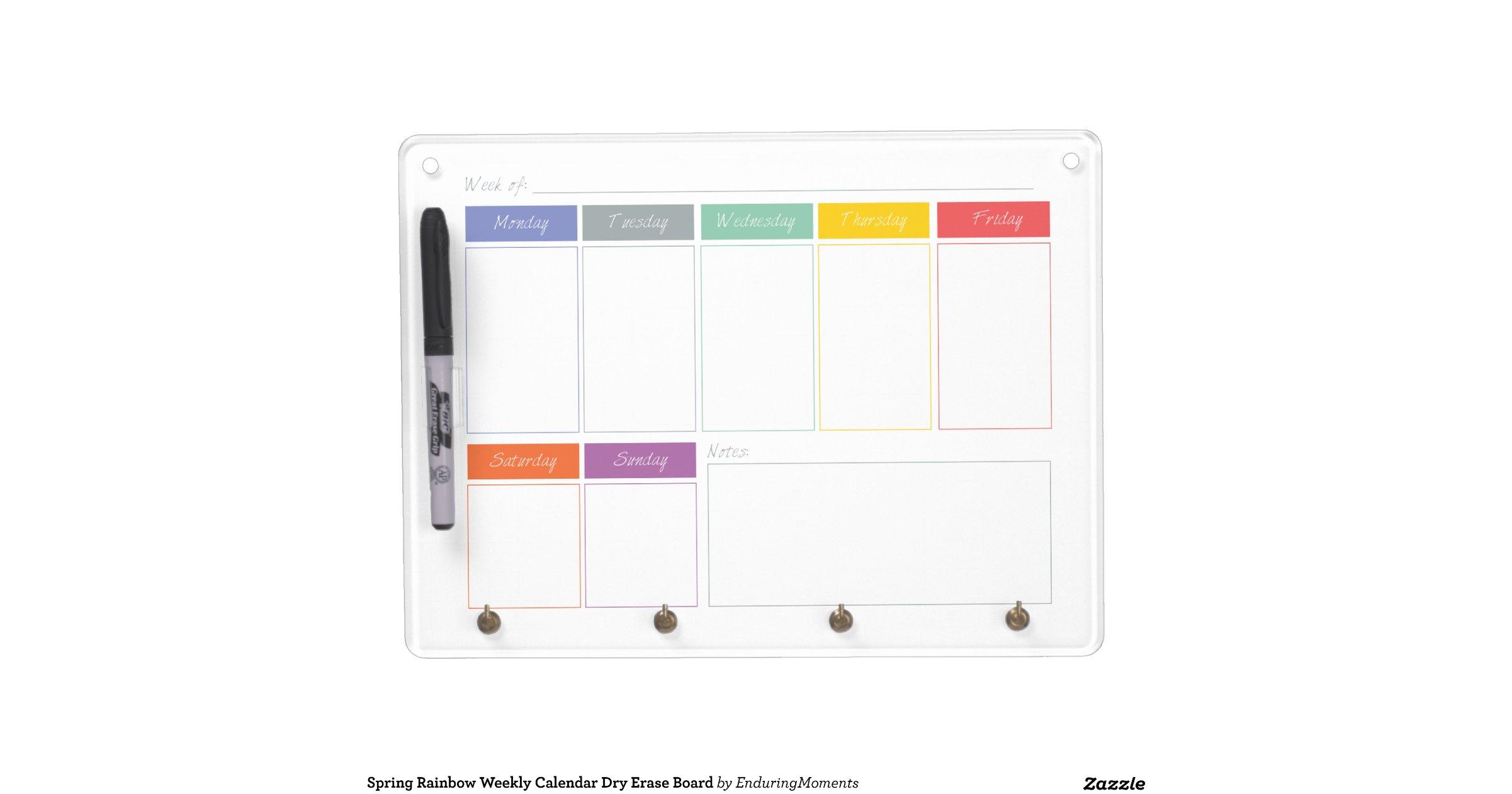 Dry Erase Weekly Calendar Board : Spring rainbow weekly calendar dry erase board