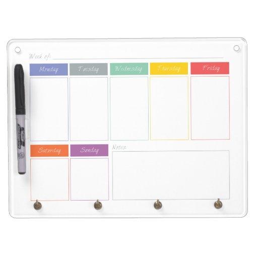 Weekly Calendar Board : Spring rainbow weekly calendar dry erase board zazzle