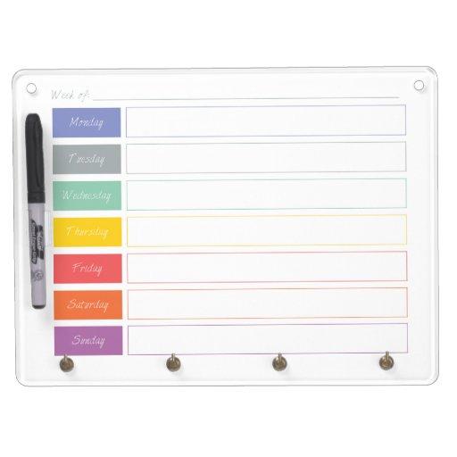 Spring Rainbow Weekly Calendar Dry Erase Board