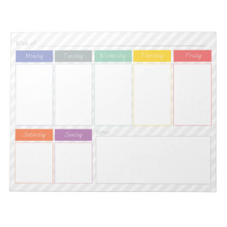 Spring Rainbow Weekly Planner Tear Off Notepad