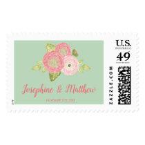Spring Ranunculus Mint Floral Wedding Postage