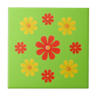 Spring red and yellow flowers for kitchen ceramic tile