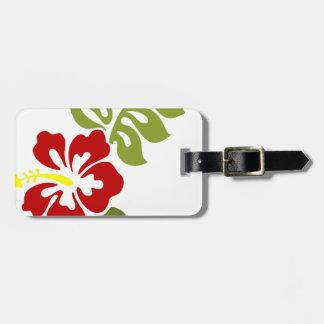 Spring Red Digital Art Hibiscus Flower Bag Tag
