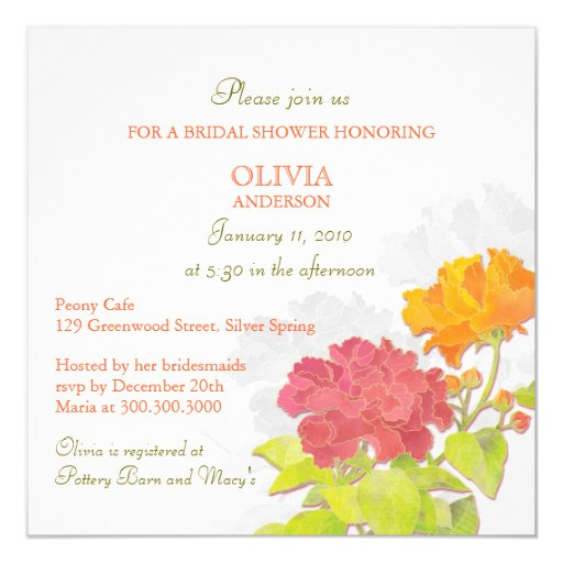 Spring Red Orange Peony Floral Bridal Shower Personalized Invitations