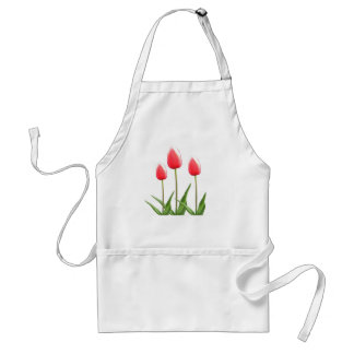 Spring red tulip flowers adult apron