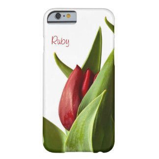 Spring Red Tulip Photo - Text Template Barely There iPhone 6 Case