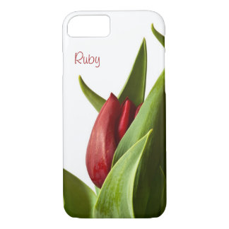 Spring Red Tulip Photo - Text Template iPhone 7 Case