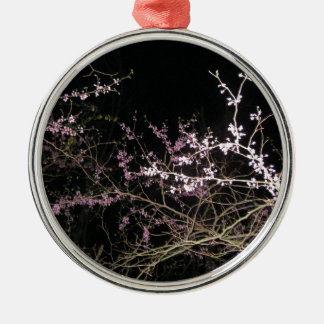 spring redbud at night metal ornament
