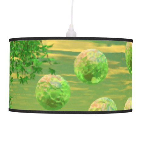 Spring Renewal, Abstract Lemon Lime Life Force Pendant Lamp