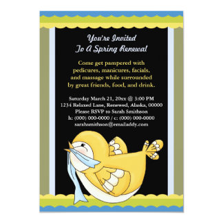 Spring Renewal Pedi Mani Facial Massage Bird 5x7 Paper Invitation Card