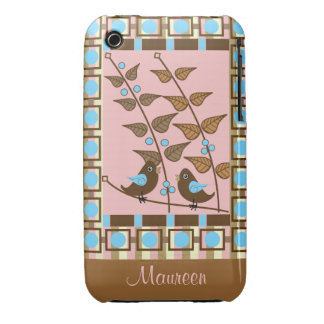 Spring retro iPhone 3 case with Birds & Leaves