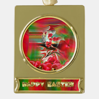 Spring Revival Abstract Easter Art Gold Plated Banner Ornament