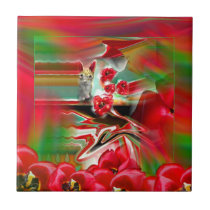 Spring Revival Abstract Easter Art Tile