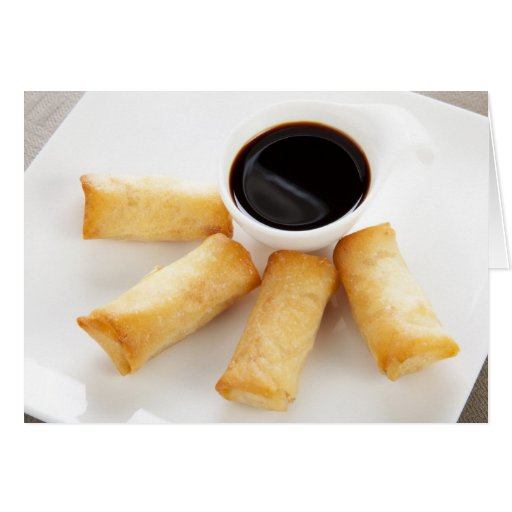 Spring Rolls and Soy Sauce Greeting Card